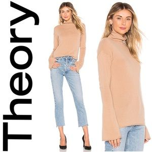 Theory Bell Sleeve Mockneck Cashmere Sweater S